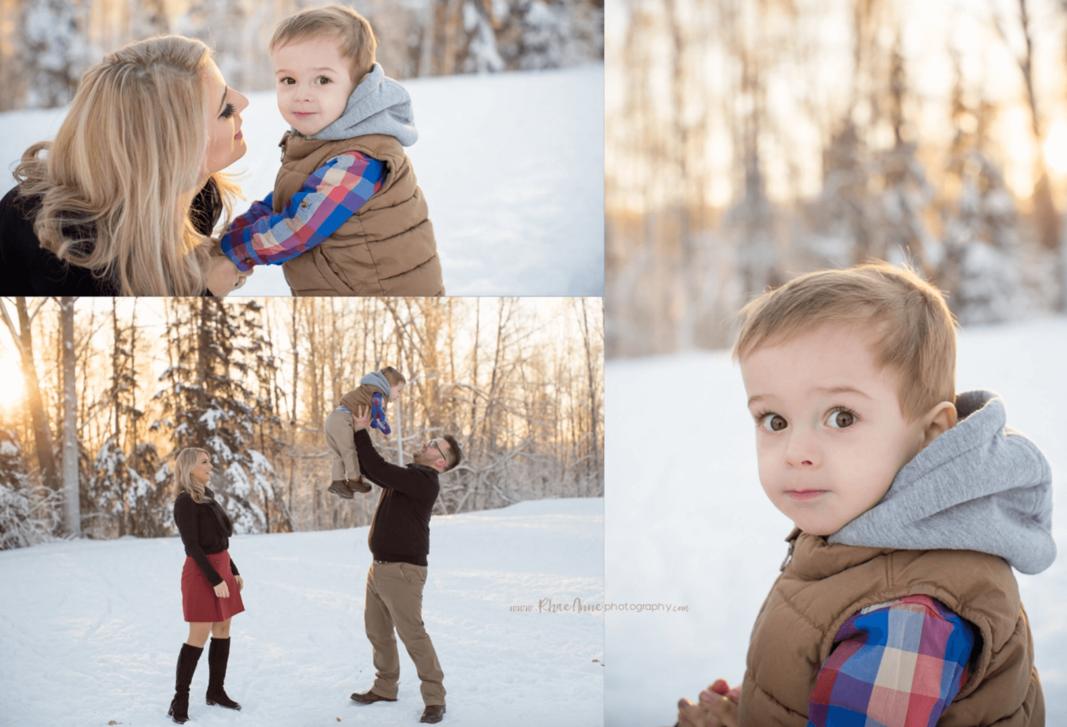winter session family photography Alaska